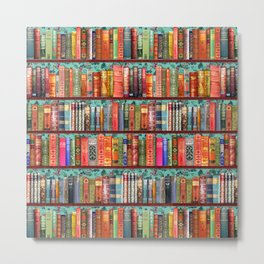 Vintage Books / Christmas bookshelf & holly wallpaper / holidays, holly, bookworm,  bibliophile Metal Print