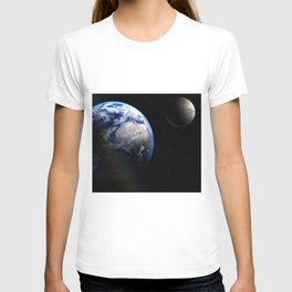 Earth and Moon Deep Space Telescopic Photograph T-shirt