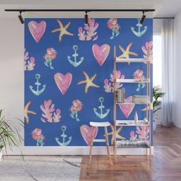 Beautiful Mermaid Theme Pattern Cute Gift for Girls Starfish Hearts Anchor Mermaid Wall Mural