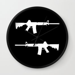 AR-15 (on black) Wall Clock