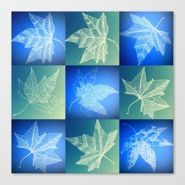 leaf collage in blue Canvas Print