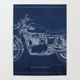 1969 triumph bonneville classic vintage motorcycle christmas gift Poster