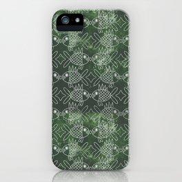 Indonesian Batik Green Fish Pattern iPhone Case