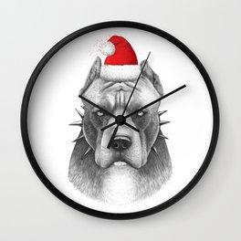 Santa Pitbull Wall Clock