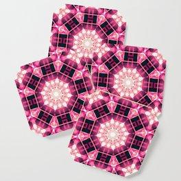 Pink Glow Geometric Mandala Coaster