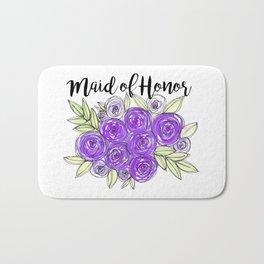Maid Of Honor Wedding Bridal Purple Violet Lavender Roses Watercolor Bath Mat