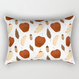 Winter brown red apples fruit acorn fall leaves  Rectangular Pillow