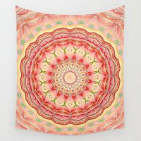 tequila Wall Tapestries featuring Mandala Tequila Sunrise -- Kaleidoscope of Vibrant Sunny Colors by V. Sanderson / Chickens in the Trees
