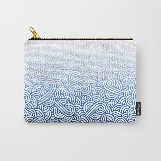 Gradient blue and white swirls doodles Carry-All Pouch