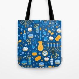 Hanukkah Happy Holidays Pattern Tote Bag