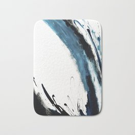 Reykjavik: a pretty and minimal mixed media piece in black, white, and blue Bath Mat