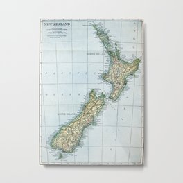 Vintage Map of New Zealand (1921) Metal Print