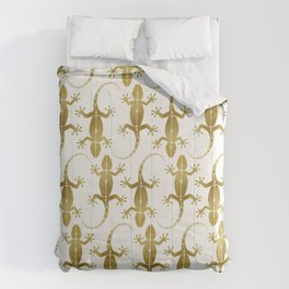 Cute abstract gecko lizard metallic gold Comforters