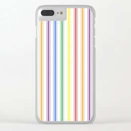 Solid Rainbow Mattress Ticking Wide Stripes Pattern Clear iPhone Case