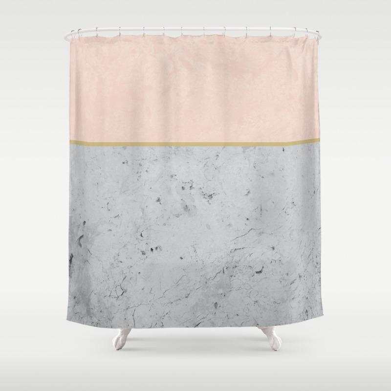 Soft Peach Meets Light Gray Concrete 1 Decor Art Society6 Shower Curtain By Anitabellajantz Society6