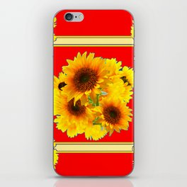 RED YELLOW SUNFLOWER BOUQUETS ART iPhone Skin