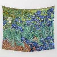 van gogh Wall Tapestries featuring Vincent van Gogh - Irises by Elegant Chaos Gallery