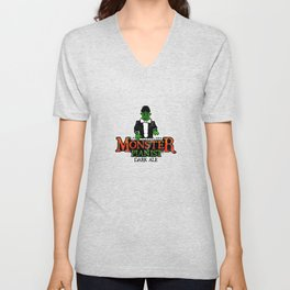 Monster Pianist Dark Ale logo weathered Unisex V-Neck