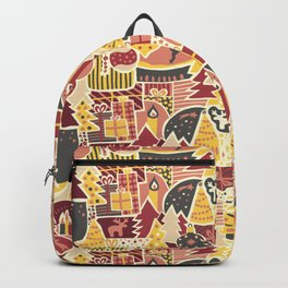 Modern Paper Cut Christmas pink, gray, yellow, red Backpack