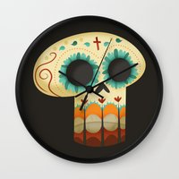 calavera Wall Clocks featuring La Calavera by Michelle McCammon