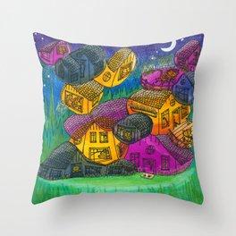 Cat Condo (nighttime) Throw Pillow
