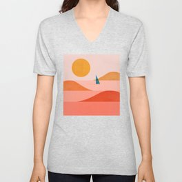 Abstraction_Sailing_Ocean_002 Unisex V-Neck