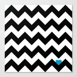 Heart & Chevron - Black/Blue Canvas Print