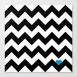 Heart & Chevron - Black/Blue Canvas Print