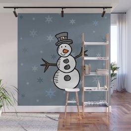 Cute snowman Wall Mural