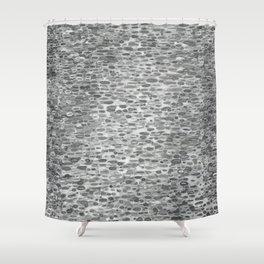 Gray Lake Raindrops Shower Curtain
