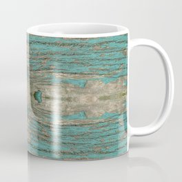 Weathered Rustic Wood - Weathered Wooden Plank - Beautiful knotty wood weathered turquoise paint Coffee Mug