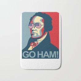 Hamilton Wearing USA sunglasses Go Ham Funny Bath Mat