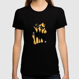 Sunshine Spectacular Atomic Age Black Kitschy Cats T-shirt