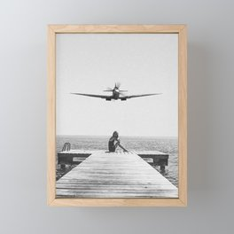 Steady As She Goes; aircraft coming in for an island landing black and white photography- photographs Framed Mini Art Print