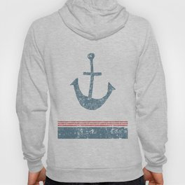 Maritime Design- Nautic Anchor on stripes in blue and red Hoody
