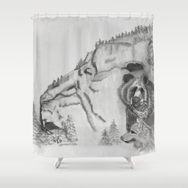 The Fairytale about the Wolf, Bear, and the Lion Shower Curtain