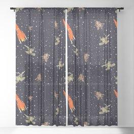 Gagarin space art #11 seamless texture Sheer Curtain