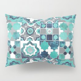 Spanish moroccan tiles inspiration // turquoise green silver lines Pillow Sham