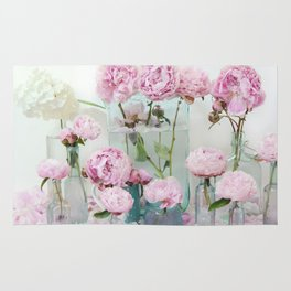 Peonies Cottage Aqua Pink Shabby Chic Watercolor Peony Prints Home Decor Rug