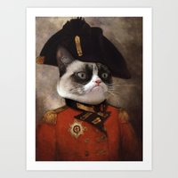 general Art Prints featuring Angry cat. Grumpy General Cat.  by UiNi