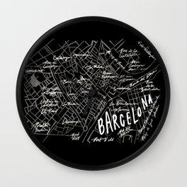 Barcelona, Spain Map Wall Clock