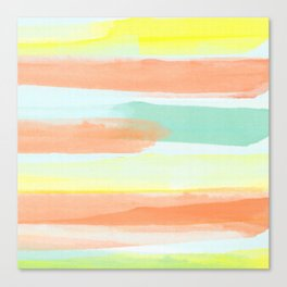 Watercolor Stripes Modern Abstract Art Canvas Print