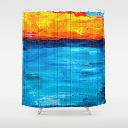 Backpack Firestorm Over Water with UK Flag Shower Curtain