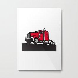 Semi Truck Tractor Low Angle Retro Metal Print