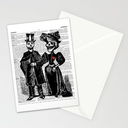 Calavera Couple   Skeleton Couple   Calaveras   Vintage Couple   Victorian Gothic   Dictionary Text Stationery Cards
