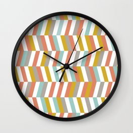 Yellow, Red, Grey and Blue | Geometric Pattern Wall Clock