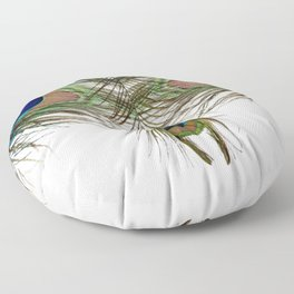 BLUE-GREEN PEACOCK FEATHERS WHITE ART Floor Pillow