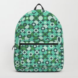 geometry round circle teal green bright pattern Backpack