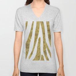 Golden exotics - Zebra and crisp white Unisex V-Neck