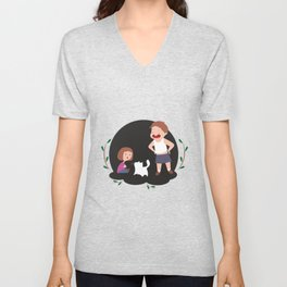 Children play with a cat Unisex V-Neck